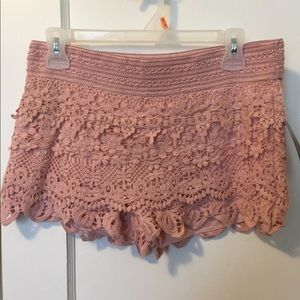 Pink Lace Shorts